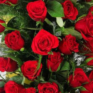 A basket of 40 long stem Red Roses with Top View