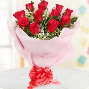 Lovely Red Posy Wrapped in crape paper a bouquet of 12 Red Rose with green fillers Gift for Him