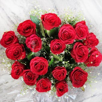 20 red roses Bunch with Top View