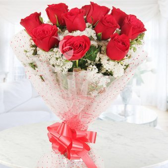 Front view of 12 red roses - A gift of Made For You Combo