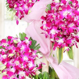 90 Purple Orchids Arrangement in Zoomed View