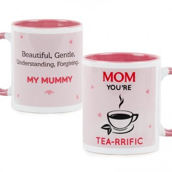 Mom You are Tea-rrific Quoted Printed Mug with Both Side View