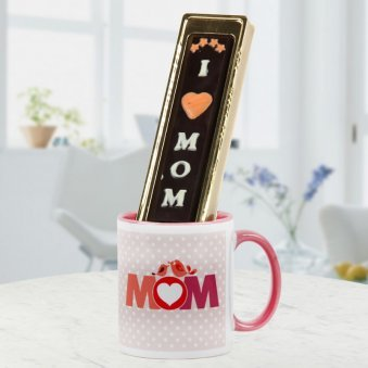 I love Mom handmade chocolate with Mom mug - Close to heart gift for mother