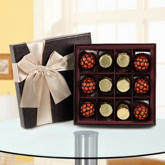 12 dark chocolates in a gorgeous black gift packing