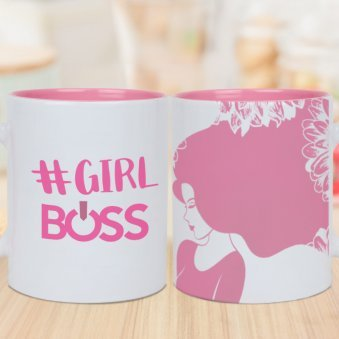 Girl Boss Mug Printed Mug with Both Sided View