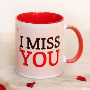 I Miss You Quoted Pink and Red Duotone Mug