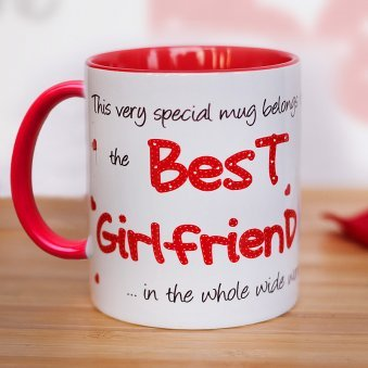 White and red duotone Best Girlfriend Mug