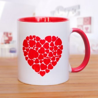 White Mug with Small Red Hearts Collage
