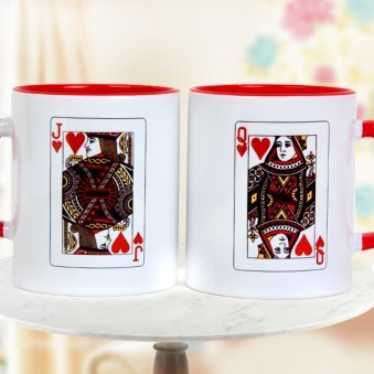 Pair of Joru Ka Ghulam Wonderful Mugs with Queen and Jack Card on Other Side