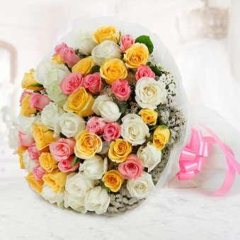 Bunch of 50 beautiful mixed color Roses