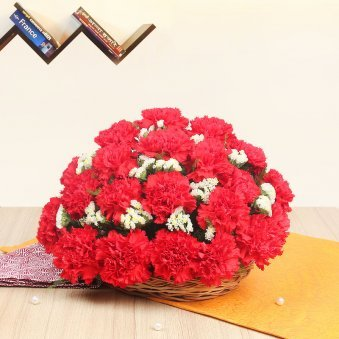 30 Red Carnations in Round Basket