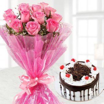 12 Pink Roses and Half Kg Black Forest Cake