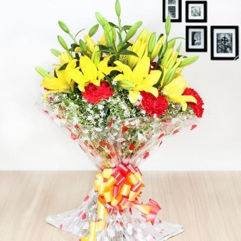 10 Red Carnations and 5 Yellow Lilies