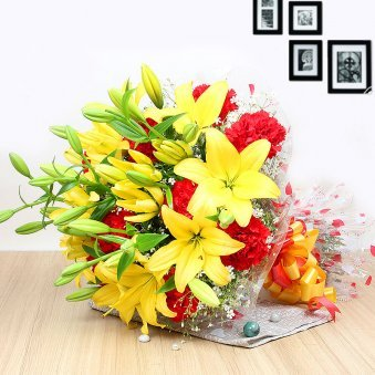 10 Red Carnations and 5 Yellow Lilies in Horizontal View