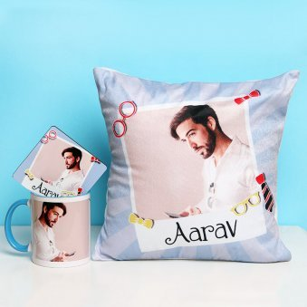 Personalised Cushion with Mug and Coaster