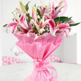 Pretty Pink Lilies A bunch of 6 pink-coloured Oriental Lilies in paper packing Gift for Him