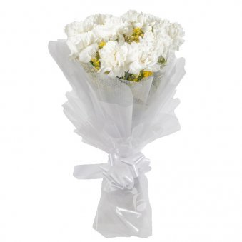 15 White Carnations with Beautiful Packaging
