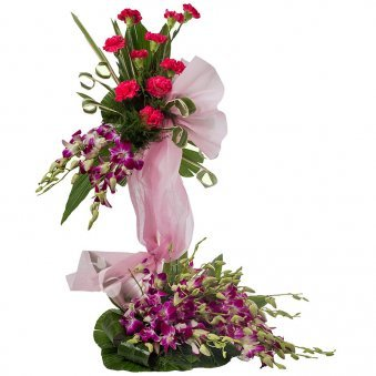 20 Purple Orchids and 10 Pink Carnations with Beautiful Packing
