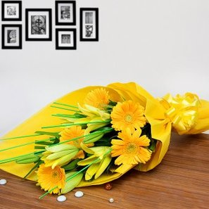 2 Yellow Lilies and 6 Yellow Gerberas