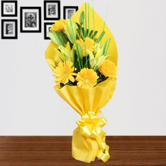2 Yellow Lilies and 6 Yellow Gerberas with Front View