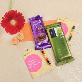 Set of 2 rakhi & chocolates