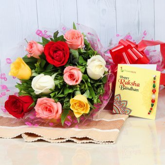 Bunch of 8 Mixed Color Roses with Rakhi and Roli Chawal