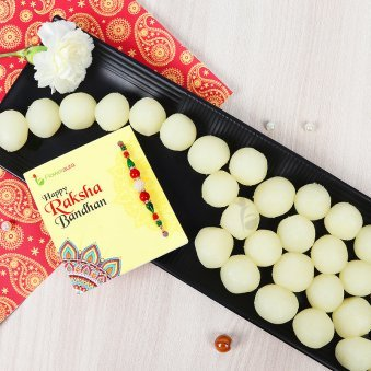 Rakhi with 1 Kg Rasgulla and Roli Chawal