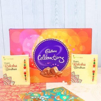 Two Rakhi with 1 Cadbury Celebration Box 141gm