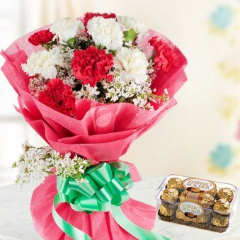 RednWhite Chocolates - A gift pack of 10 red and white carnations and 16 ferrero rocher