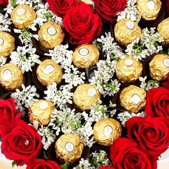 Zoom view of Heart Shaped Ferrero Rocher Bouquet - A gift of Rocher Love Hamper