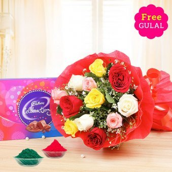 Holi roses with chocolates