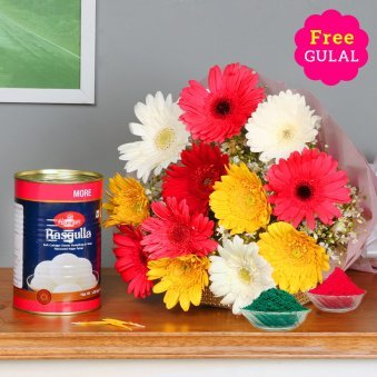 gerberas with rasgullas