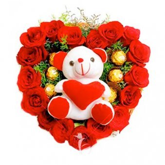 Heart Shape Arrangement of Rose with Ferrero and Teddy