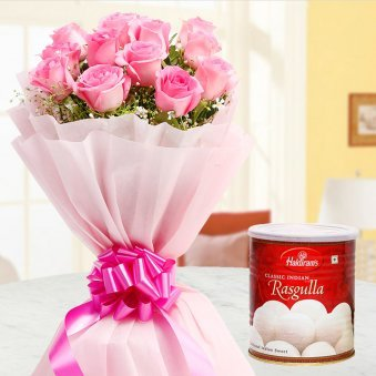 Pink roses bunch and Haldiram Rasgullas