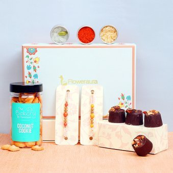 Two Rakhis with 100 Gms. Chocolate Almond, 100 Gms. Coconut Butter Cookie