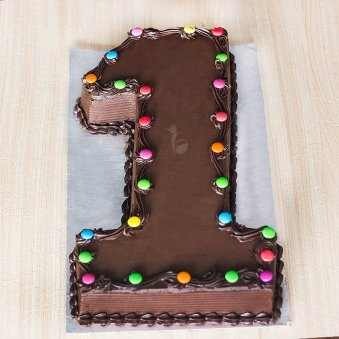 Single Number Chocolate Cake for Kids 1st Birthday