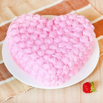 Heart-shape Strawberry Anniversary Cake Eggless - Zoom View