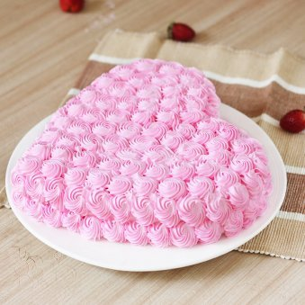 Heart-shape Strawberry Anniversary Cake Eggless - Top View