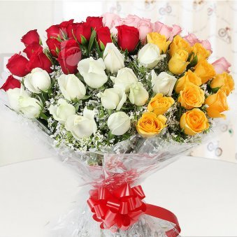 Front view of 60 mixed roses bunch - A gift in Swoon in Love
