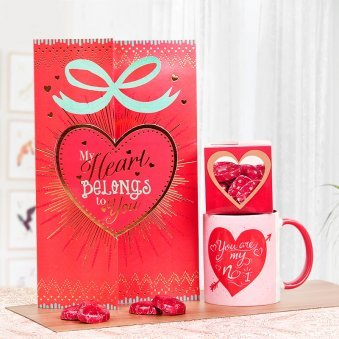 A Valentine Combo of a Mug and a Card with Chocolates