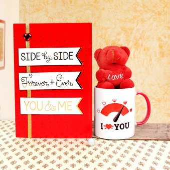 A Card and a Mug with a Small Teddy Beautiful Gift