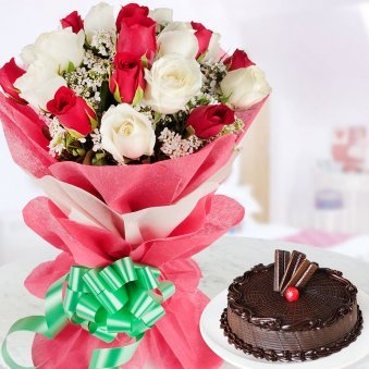 Xmas Combo of 20 red and white roses bunch and half kg chocoholics cake
