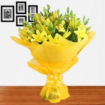 12 Yellow Lilies Bunch