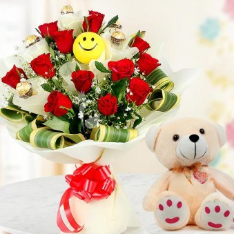 12 Red Roses 5 Ferrero Rochers and 12 Inch Teddy