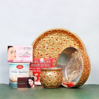 Karwa Chauth Thali Set with Sweets and Facial Kit