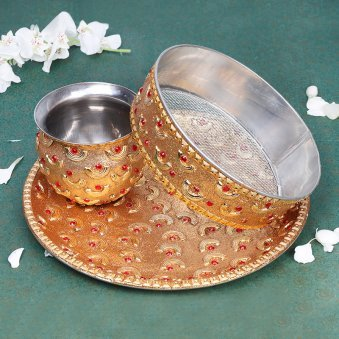 Karwa Chauth Thali with Lota and Chhalni Pack