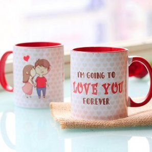 Love Forever Printed Couple Mug with Both Side View