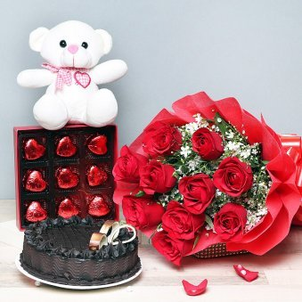 Half Kg Chocolate Cake White Teddy Nine Heart Shaped Chocolates Ten Red Roses Bunch