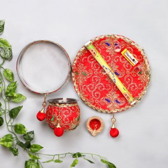 Karwa Chauth Thali with Lota Chhalni and Calendar