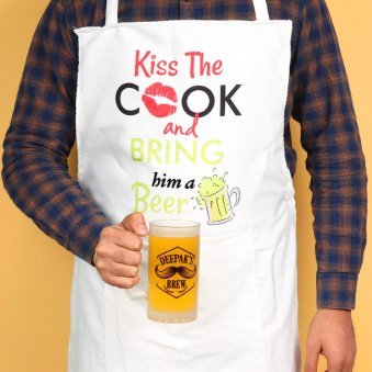 Apron With Personalised Beer Mug Combo